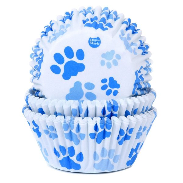 House of Marie Baking Cups - Paw Blue Pfote   - pk/50 Muffinformen